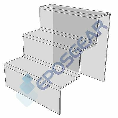 1 x 3 Step Tier Large Clear Acrylic Perspex Retail Counter Display Riser Stand