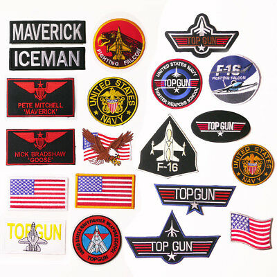 "TOP GUN ""Maverick"" Custom Costume Naval Movie Patch, Embroidered Iron-On / Names"