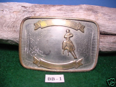 Vintage Old Nickel SILVER Cowboy Cutting a Invisible Calf Belt Buckle MAKE OFFER