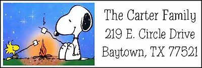 ~SNOOPY & WOODSTOCK CAMPING~  Return Address Labels.