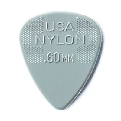 "10 x Jim Dunlop Nylon Standard ""Greys"" .60MM Gauge Guitar Picks *NEW* Plectrums"