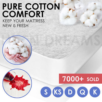 All Size Terry Cotton Fully Fitted Waterproof Mattress Protector Cover SuperKing