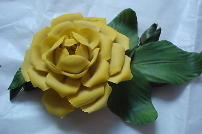 "Capodimonte, Italy, porcelain flower ""Marechal Niel"", yellow rose  made in Italy"