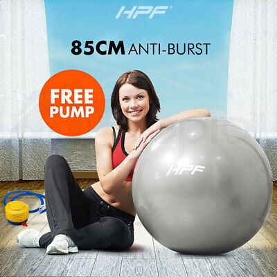 New HPF 85cm Yoga Gym Exercise Ball Pilates Swiss Fitness Workout Grey Foot Pump