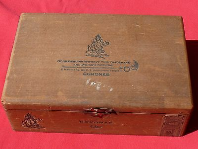 1949 CORONAS Nutura DOVETAILED WOODEN CIGAR BOX Orig Series 199 Revenue Stamp