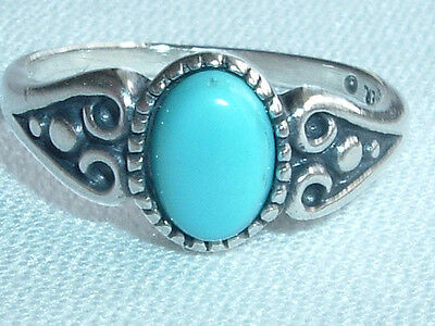 Vintage Sterling Silver Turquoise Ring Size 5 In Gift Box
