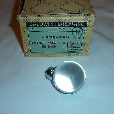 "Baldwin 4959-260 Cabinet Knob 1.5"" Diameter ONE Only CLEAR ACRYLIC NEW!"