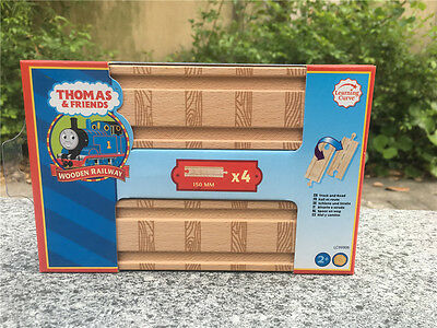 "Learning Curve Thomas & Friends 4x 6"" Straight Wooden Tracks New in Box"