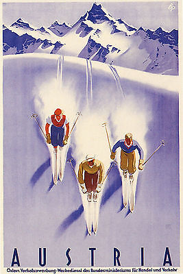 Vintage AUSTRIA Skiing/Travel Art Deco Design Poster   A1,A2,A3,A4 Sizes