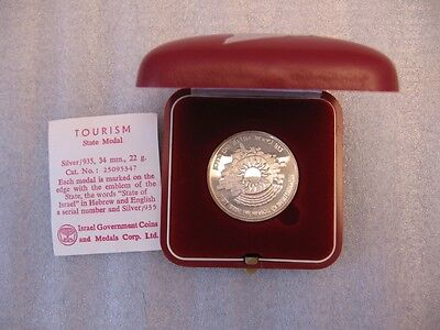 1983 TOURISM / ISRAEL WELCOMES THE TOURIST STATE MEDAL 22g STERLING SILVER +BOX
