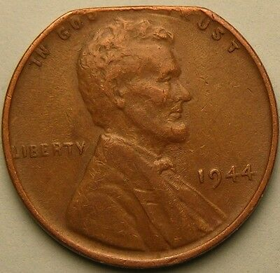 1944 P Lincoln Wheat Penny,Cent, (Straight Clipped Planchet) Mint Error  Ae 471