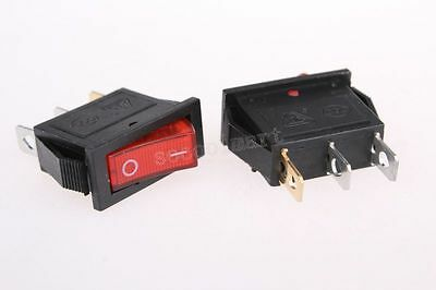 2 x Red Light Illuminated ON-OFF SPST Snap in Rocker Switch 10A/250V 15A/125V A