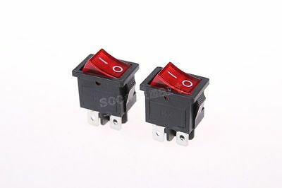 5 Pcs x Red Light Illuminated ON-OFF 2 Position DPST Boat Rocker Switches 4 Pin