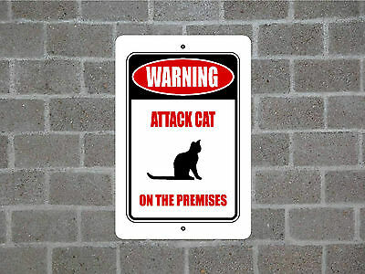 WARNING ATTACK CAT ON THE PREMISES metal aluminum sign (ani3)
