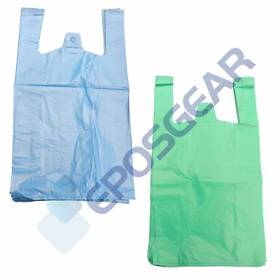 Large Jumbo Blue Green Strong Recycled Eco Plastic Vest Shopping Carrier Bags