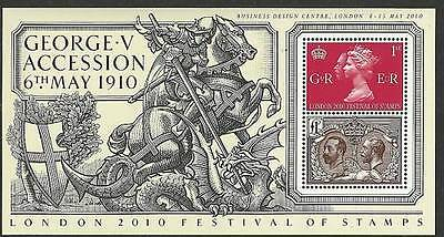 London 2010 King George V Accession Stampex Overprint Minisheet Ms3065 Mnh