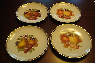 """Bavaria Germany set of 4 plates decorated with fruits, 6"""" diameter"""