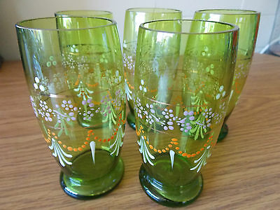 Five Vintage Antique Collectable Retro Hand Painted and Gilt Glass Cups
