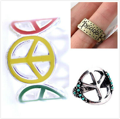 Vintage Art Deco retro style peace sign ring multiple choices