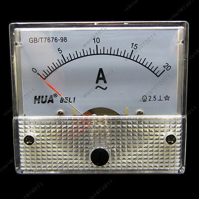 AC 20A Analog Ammeter Panel Pointer AMP Current Meter Gauge 85L1 0-20A AC