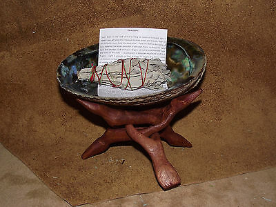 Sage Smudge Kit With White Sage Stick, Abalone Shell And Stand Purification Vibs