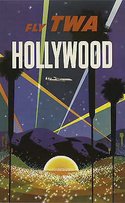 Fly TWA To HOLLYWOOD, LOS ANGELES Vintage Travel Poster A1,A2,A3,A4 Sizes