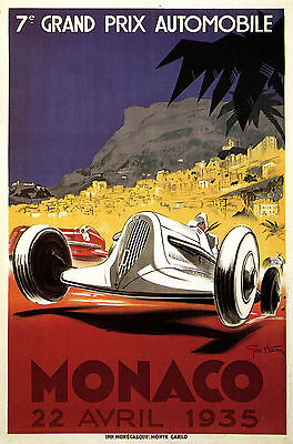 MONACO,France 1935 Art Deco Travel/Motor Racing Poster A1A2A3A4Sizes