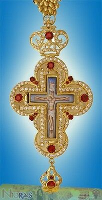 Orthodox Pectoral Cross 6cm x 17cm With Russian Enamel Hand Made in Greece