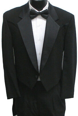 Black Western Style Tuxedo Tailcoat Wedding Prom Cowboy Halloween Costume 42S