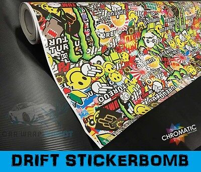 Sticker Bomb Car Wrap 152 x30cm - Bubble Free Vinyl - Drift Style JDM Film Foile