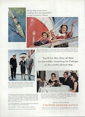 1962 United States Lines PRINT AD Cruise Ship Captain