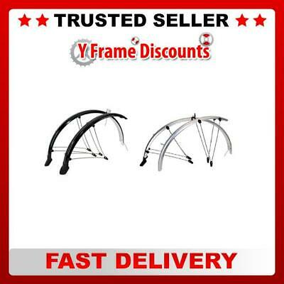 New Hybrid Bike Cycle Full Mudguard Set for 700c Wheels 45mm in Black or Silver