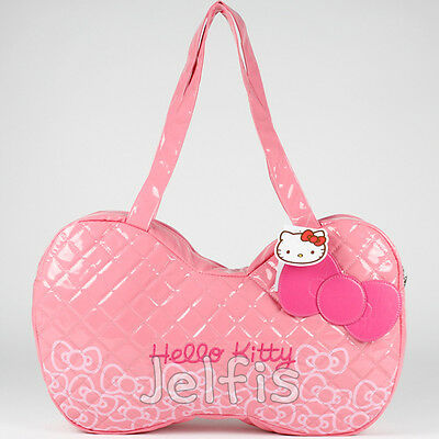 """20"""" X Large Sanrio Hello Kitty Pink Bow Purse - Quilted Tote Beach Bag Duffel"""