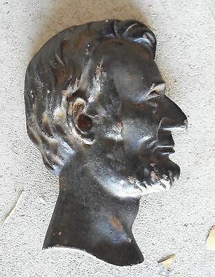 """Antique Cast Iron Abraham Lincoln Wall Plaque 6 1/4"""" Tall LOOK"""