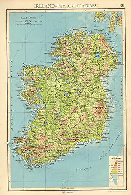 1942 MAP ~ IRELAND ~ EIRE CENTRAL PLAIN NORTHERN WICKLOW MOUNTAINS OF KERRY