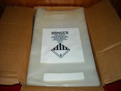 Clear Danger Disposable Asbestos Bag 12'' x 20'' Lot of 10 New Bags. 6Mil Thick!