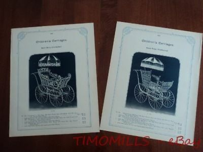 c.1895 Baby Carriage Pram Buggy Hardware Catalog Section Antique Original Large