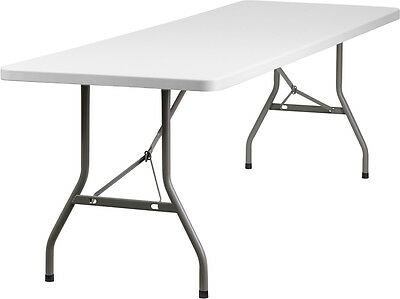 Lot of 8 8ft Folding Catering Tables + 64 White Steel Frame Folding Chairs