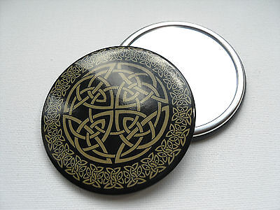 Celtic Design Button MIRROR Handy make up pocket sized cosmetic Compact Mirror