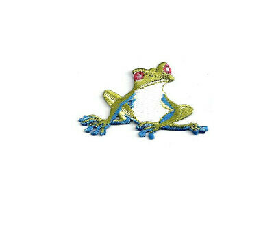 Embroidered Iron On Patch Frog Crafts Red Striped Frog Nature Marsh