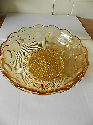 Vintage Antique Collectable Retro Pressed Amber Glass Dot Pattern Bowl