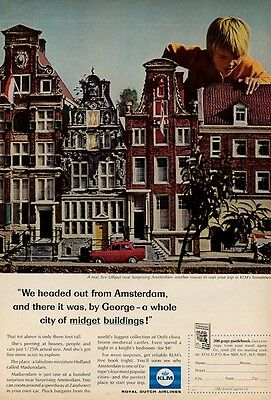 1966 KLM Royal Dutch Airlines PRINT AD Boy in Miniature Holland City Madurodan