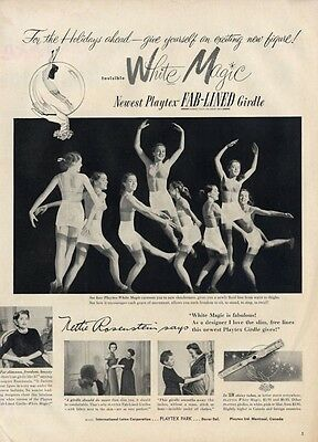 1951 Playtex  PRINT AD White Magicbra & foundation designer Nettie Rosenstein