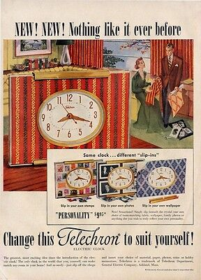 1951 Telechron Electric Clock PRINT AD Personality