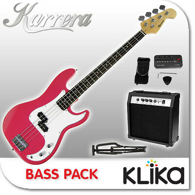 New Karrera Pink Electric Bass Guitar And Amplifier Electronic Tuner Stand