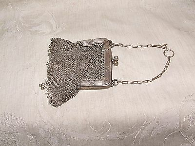 Antique Victorian Edwardian Silver Metal Mesh CHATELAINE Coin Purse Chainmaille