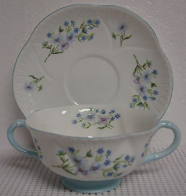 Shelley BLUE ROCK Cream Soup Bowl Set NICE! Multiple Available DAINTY SHAPE