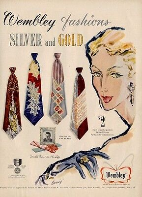 1951 Wembley Silver and Gold Vintage Ties Deco Art PRINT AD