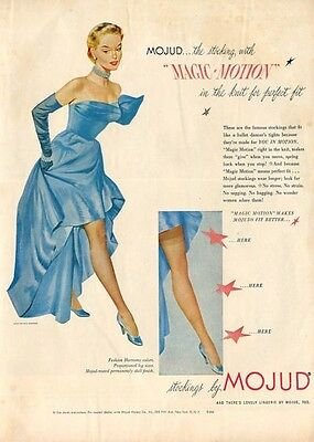 1951 MOJUD Hosiery Stockings Hose dress by Ciel Chapman ART PRINT AD