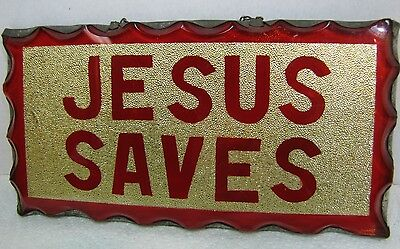 Old Folk Art JESUS SAVES Thick Glass Scalloped Edges Sign tin FABULOUS